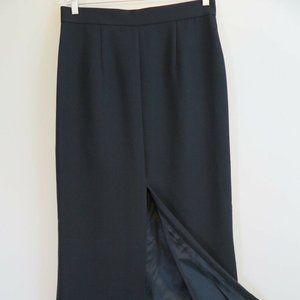 Black Crepe Long Front-Slit Elegant Evening Skirt
